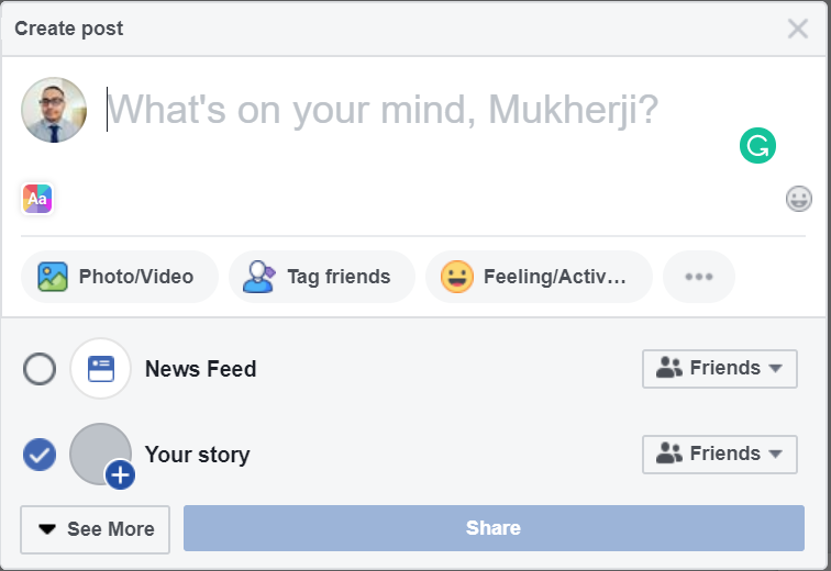 fb our story section - 6 Social Media Mistakes You Might Have Made (And to Avoid Them)